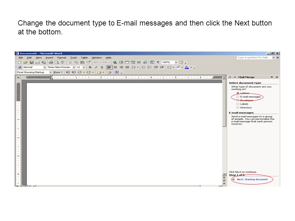 Change the document type to E-mail messages and then click the Next button at the bottom.