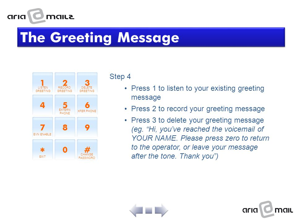 Step 4 Press 1 to listen to your existing greeting message Press 2 to record your greeting message Press 3 to delete your greeting message (eg. Hi, yo