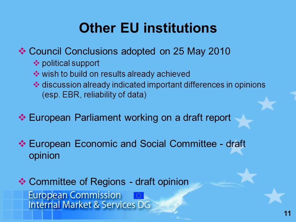 11 Other EU institutions Council Conclusions adopted on 25 May 2010 political support wish to build on results already achieved discussion already indicated important differences in opinions (esp.