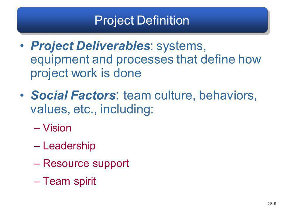Project Definition 16–8 Project Deliverables: systems, equipment and processes that define how project work is done Social Factors : team culture, behaviors, values, etc., including: –Vision –Leadership –Resource support –Team spirit