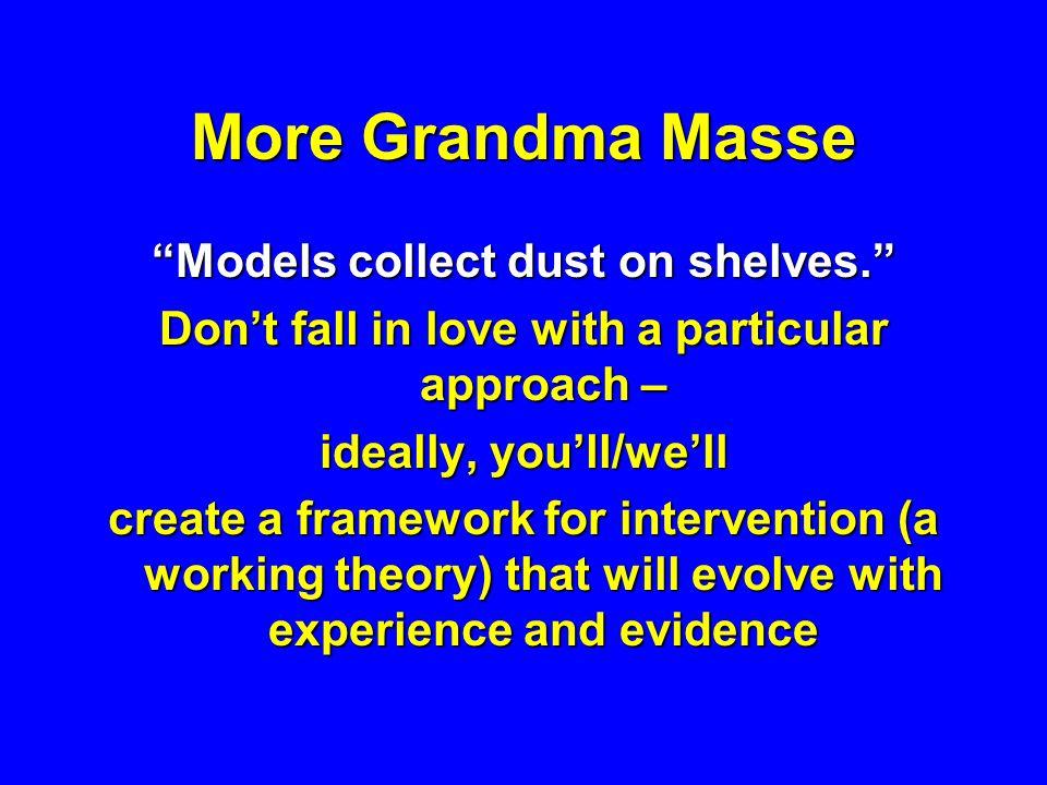 More Grandma Masse Models collect dust on shelves.