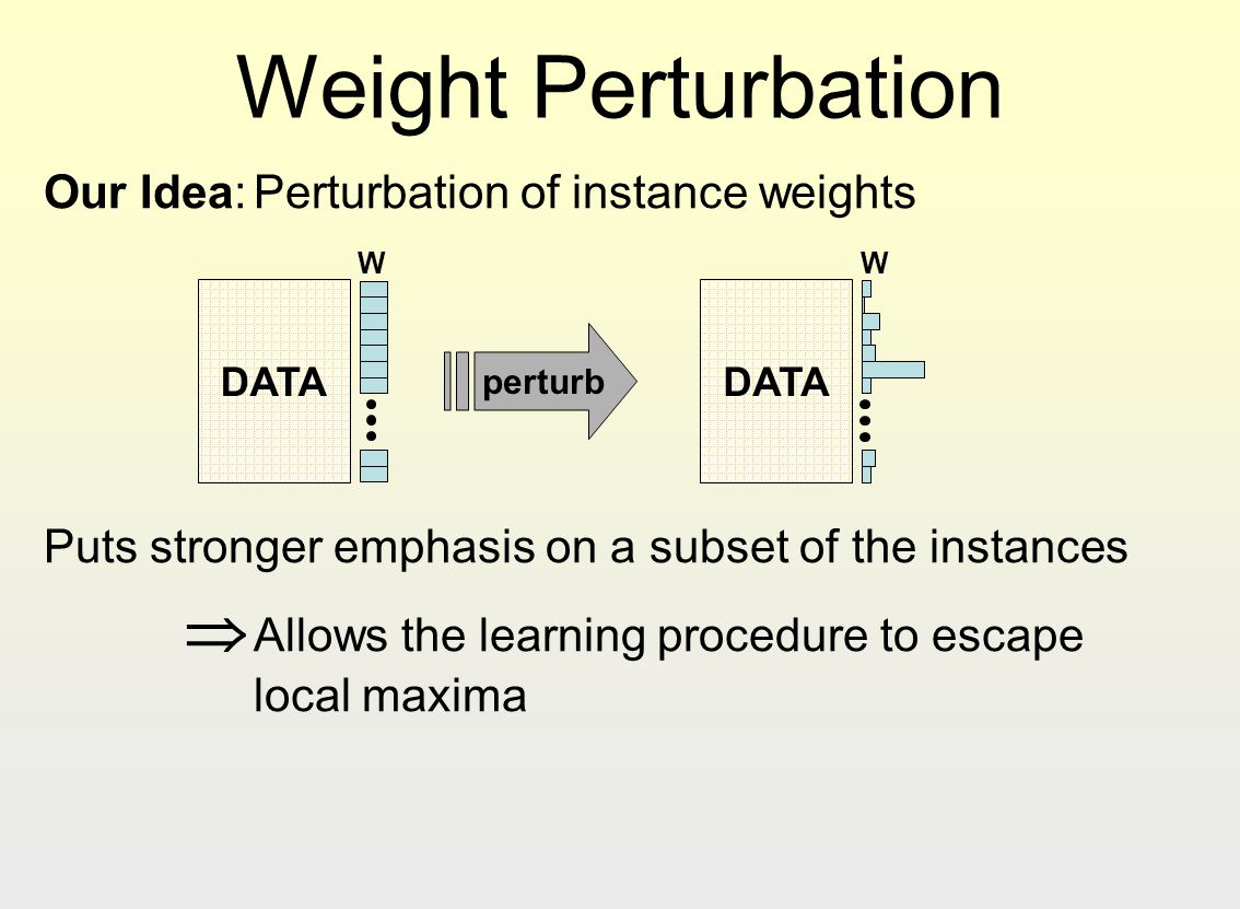 Weight Perturbation Our Idea:Perturbation of instance weights Puts stronger emphasis on a subset of the instances Allows the learning procedure to esc