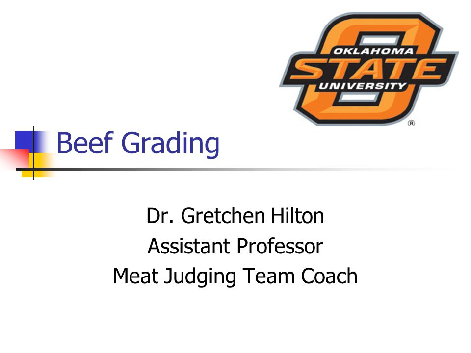 Beef Grading Dr. Gretchen Hilton Assistant Professor Meat Judging Team Coach