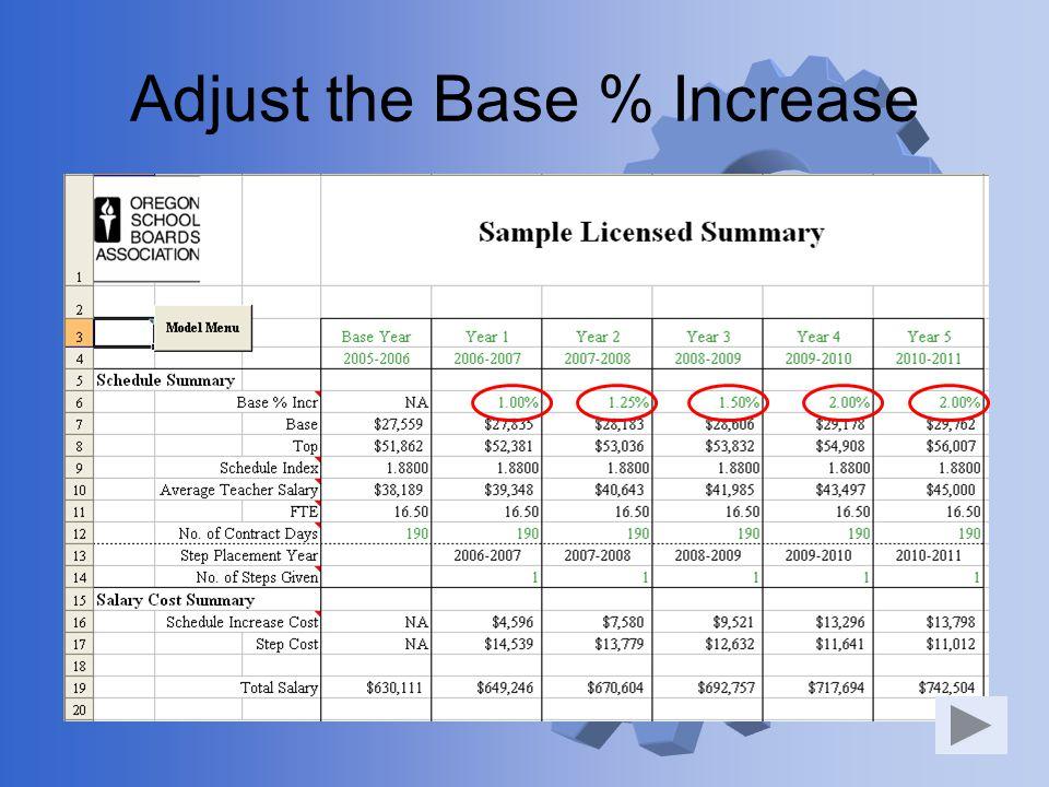 Adjust the Base % Increase