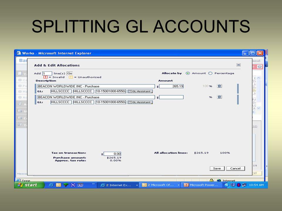 SPLITTING GL ACCOUNTS