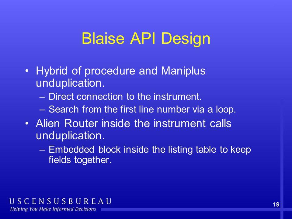19 Blaise API Design Hybrid of procedure and Maniplus unduplication.