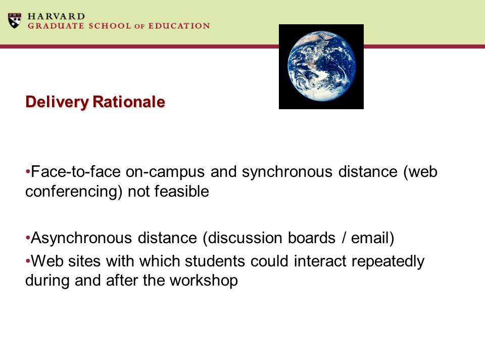 Delivery Rationale Face-to-face on-campus and synchronous distance (web conferencing) not feasible Asynchronous distance (discussion boards / email) Web sites with which students could interact repeatedly during and after the workshop