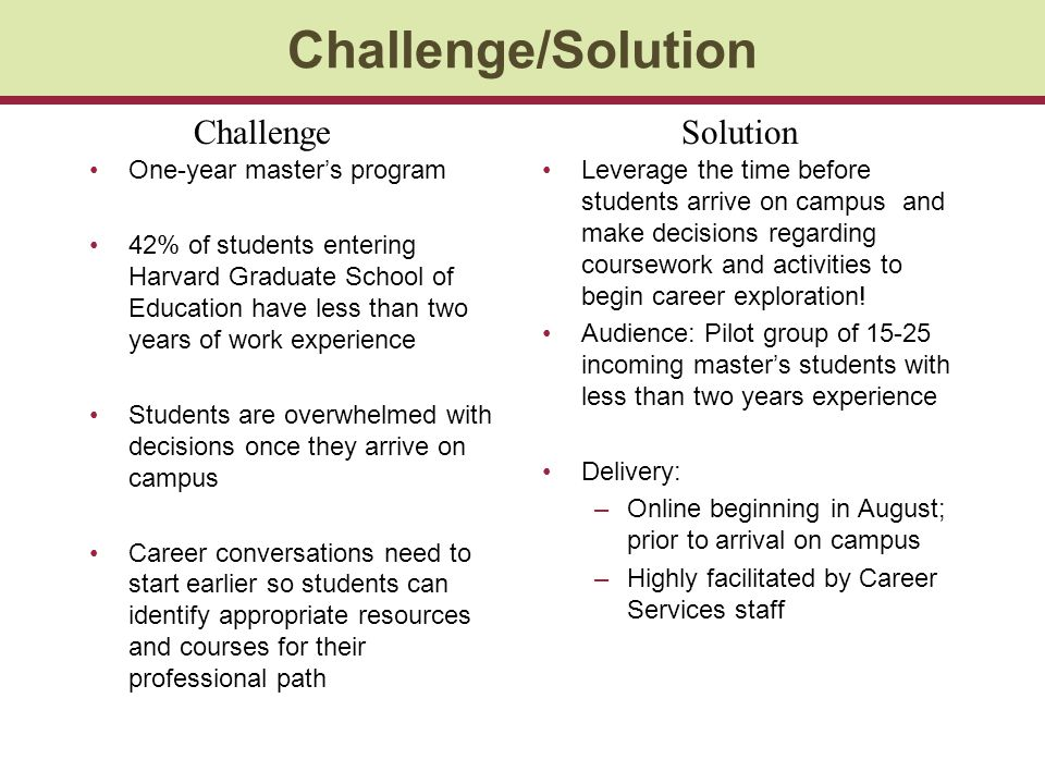 Challenge/Solution One-year masters program 42% of students entering Harvard Graduate School of Education have less than two years of work experience Students are overwhelmed with decisions once they arrive on campus Career conversations need to start earlier so students can identify appropriate resources and courses for their professional path Leverage the time before students arrive on campus and make decisions regarding coursework and activities to begin career exploration.