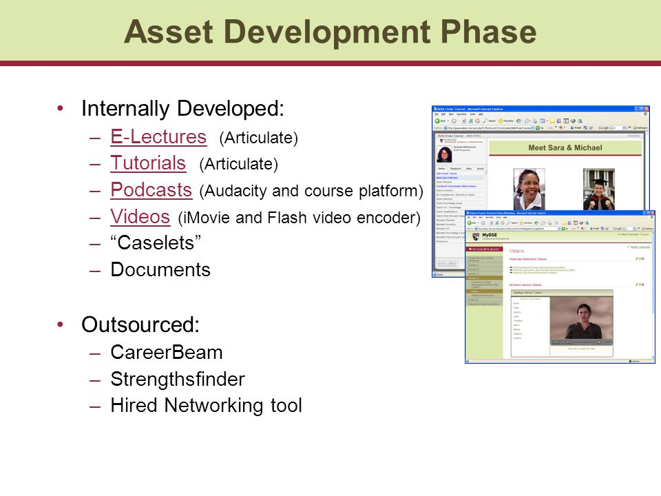 Asset Development Phase Internally Developed: –E-Lectures (Articulate)E-Lectures –Tutorials (Articulate)Tutorials –Podcasts (Audacity and course platform)Podcasts –Videos (iMovie and Flash video encoder)Videos –Caselets –Documents Outsourced: –CareerBeam –Strengthsfinder –Hired Networking tool