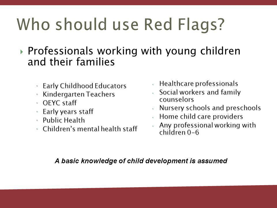 Developmental of Red Flags Guide Original version from Simcoe County (2004) Since 2005 – Red Flags has been adapted in 14 different regions in Ontario Ottawa = 15