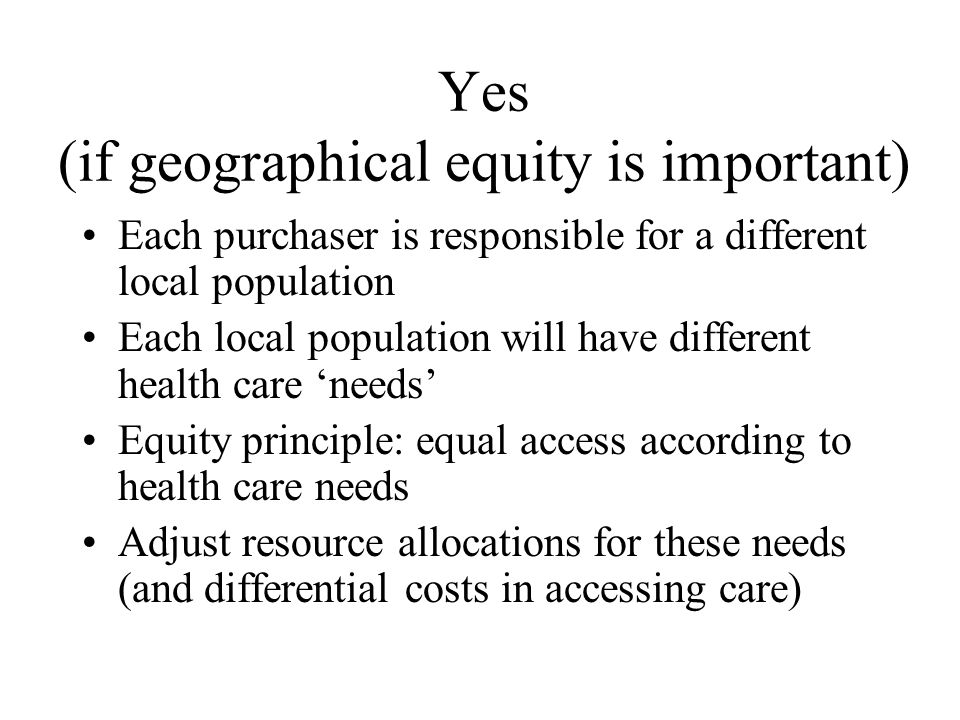 Is geographical equity important.