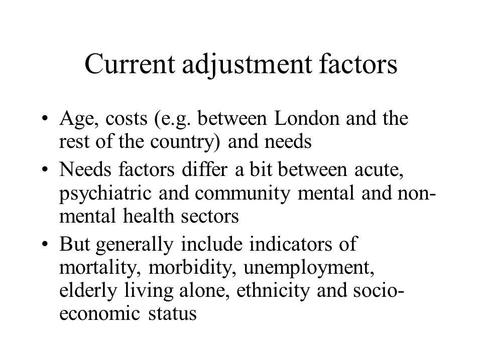Current adjustment factors Age, costs (e.g.
