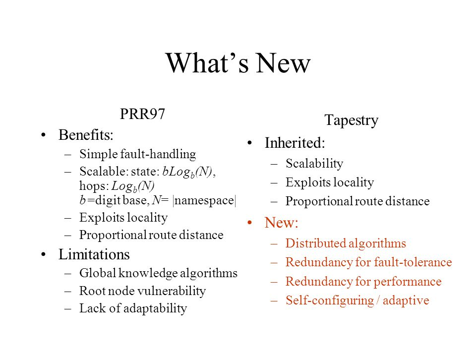 Whats New PRR97 Benefits: –Simple fault-handling –Scalable: state: bLog b (N), hops: Log b (N) b=digit base, N= |namespace| –Exploits locality –Proportional route distance Limitations –Global knowledge algorithms –Root node vulnerability –Lack of adaptability Tapestry Inherited: –Scalability –Exploits locality –Proportional route distance New: –Distributed algorithms –Redundancy for fault-tolerance –Redundancy for performance –Self-configuring / adaptive
