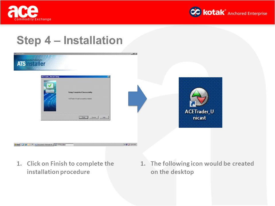 1.Click on Finish to complete the installation procedure 1.The following icon would be created on the desktop Step 4 – Installation