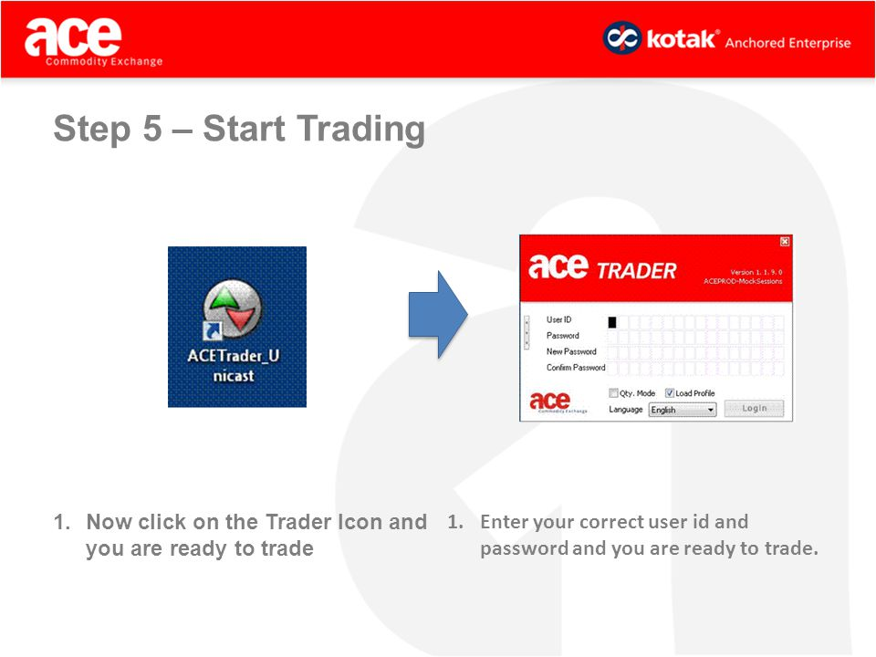 1.Now click on the Trader Icon and you are ready to trade 1.Enter your correct user id and password and you are ready to trade.