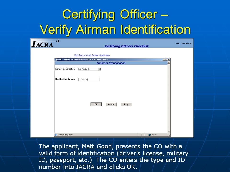 Certifying Officers Checklist The CO sees that the first item has been completed by the presence of a check mark.