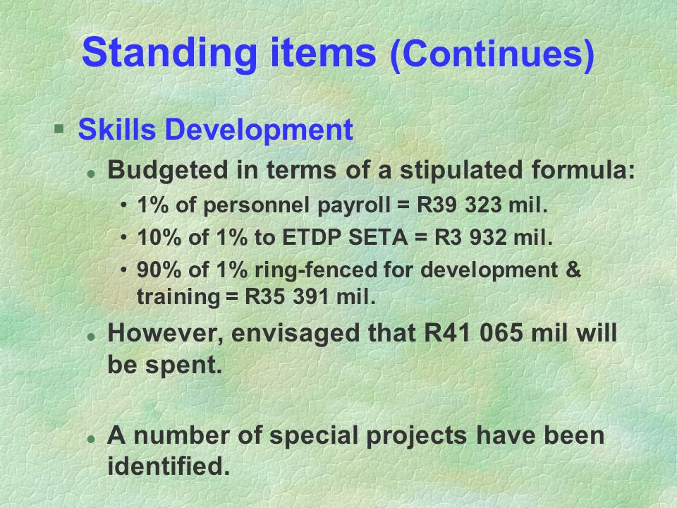 Standing items (Continues) §Skills Development l Budgeted in terms of a stipulated formula: 1% of personnel payroll = R39 323 mil.