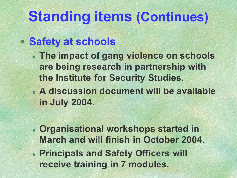 Standing items (Continues) §Safety at schools l The impact of gang violence on schools are being research in partnership with the Institute for Securi