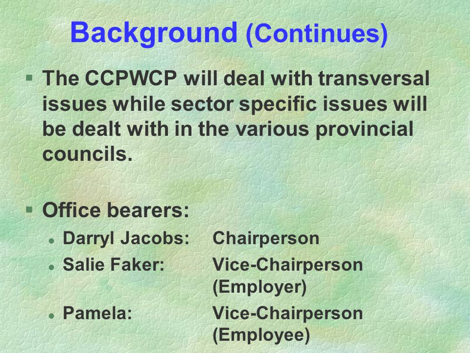 Background (Continues) §The CCPWCP will deal with transversal issues while sector specific issues will be dealt with in the various provincial councils.