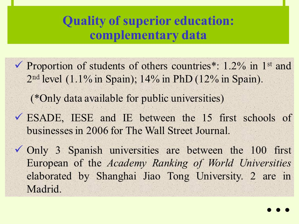 Proportion of students of others countries*: 1.2% in 1 st and 2 nd level (1.1% in Spain); 14% in PhD (12% in Spain).