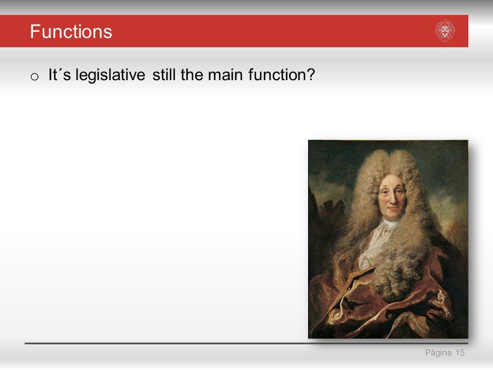 Página Functions o It´s legislative still the main function? 15