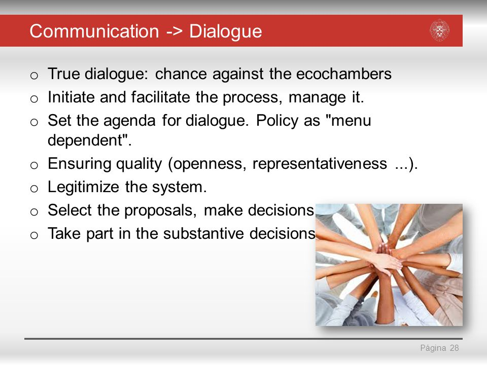 Página Communication -> Dialogue o True dialogue: chance against the ecochambers o Initiate and facilitate the process, manage it.