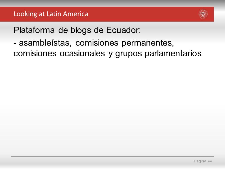 Página Plataforma de blogs de Ecuador: - asambleístas, comisiones permanentes, comisiones ocasionales y grupos parlamentarios 44 Looking at Latin Amer
