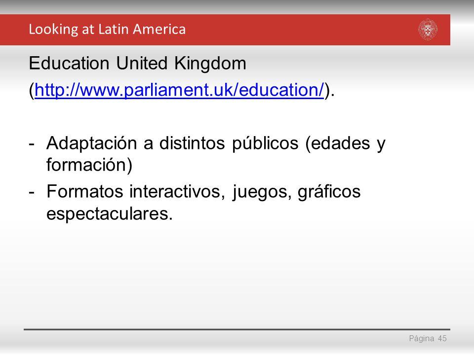 Página Education United Kingdom (http://www.parliament.uk/education/).http://www.parliament.uk/education/ -Adaptación a distintos públicos (edades y f