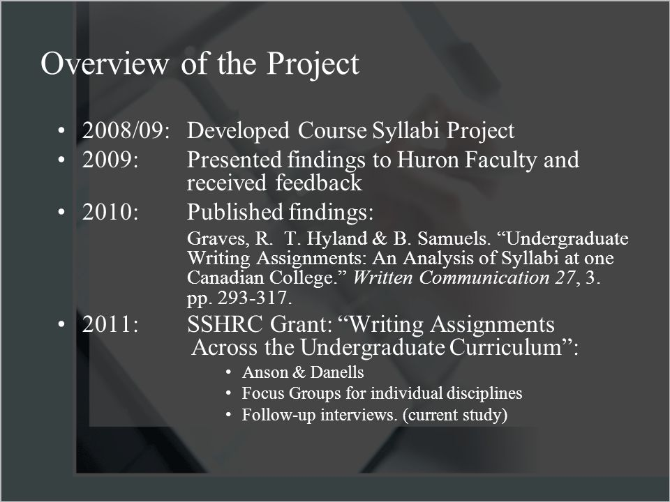 Overview of the Project 2008/09:Developed Course Syllabi Project 2009: Presented findings to Huron Faculty and received feedback 2010: Published findings: Graves, R.