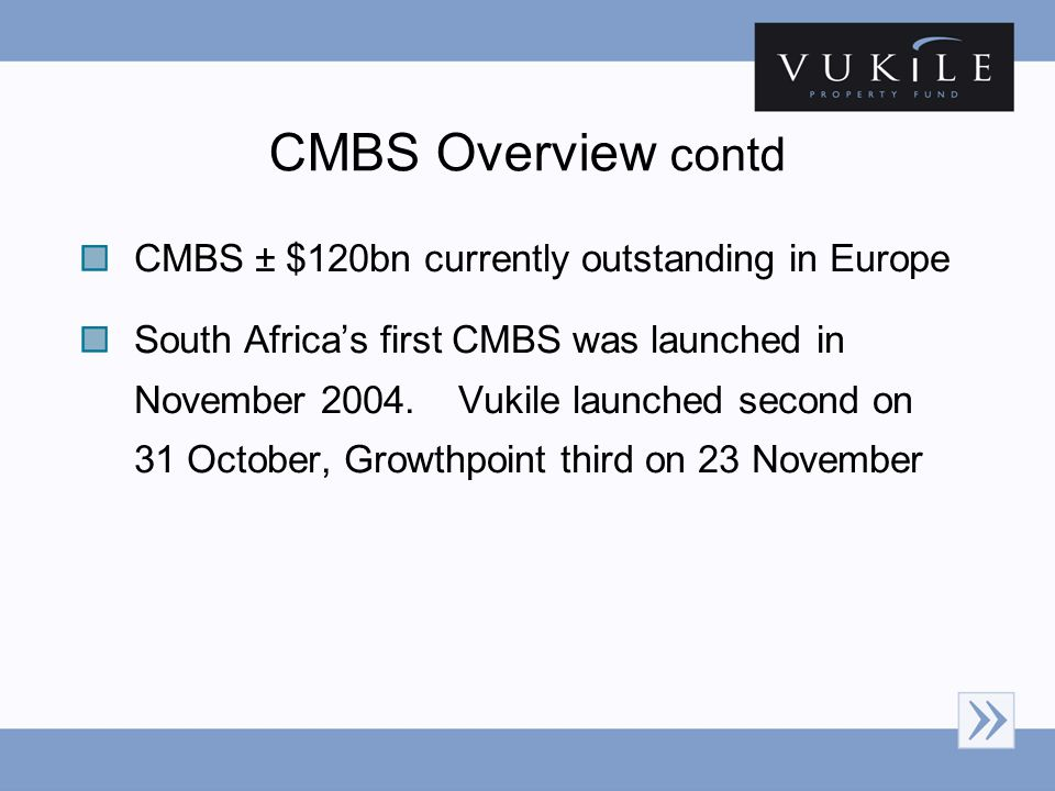 CMBS ± $120bn currently outstanding in Europe South Africas first CMBS was launched in November 2004.