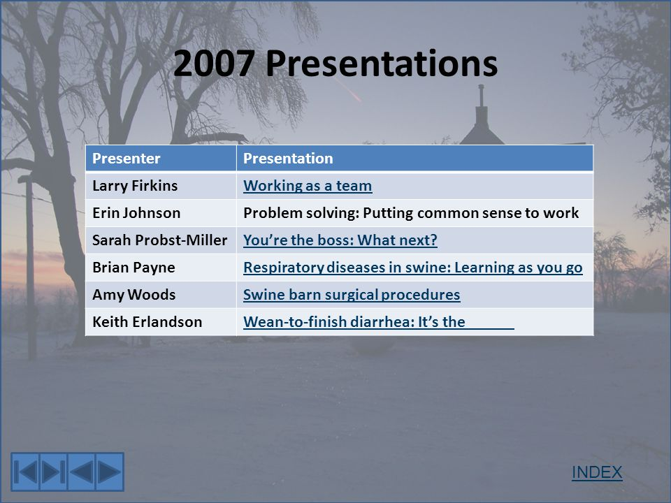 2007 Presentations PresenterPresentation Larry FirkinsWorking as a team Erin JohnsonProblem solving: Putting common sense to work Sarah Probst-MillerYoure the boss: What next.