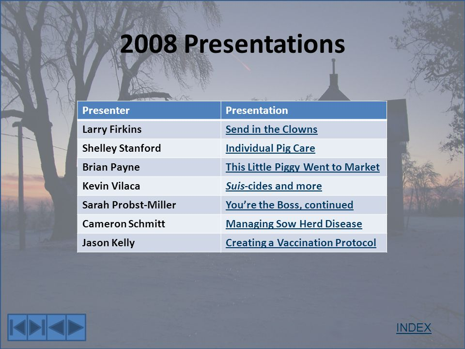2008 Presentations PresenterPresentation Larry FirkinsSend in the Clowns Shelley StanfordIndividual Pig Care Brian PayneThis Little Piggy Went to Market Kevin VilacaSuis-cides and more Sarah Probst-MillerYoure the Boss, continued Cameron SchmittManaging Sow Herd Disease Jason KellyCreating a Vaccination Protocol INDEX