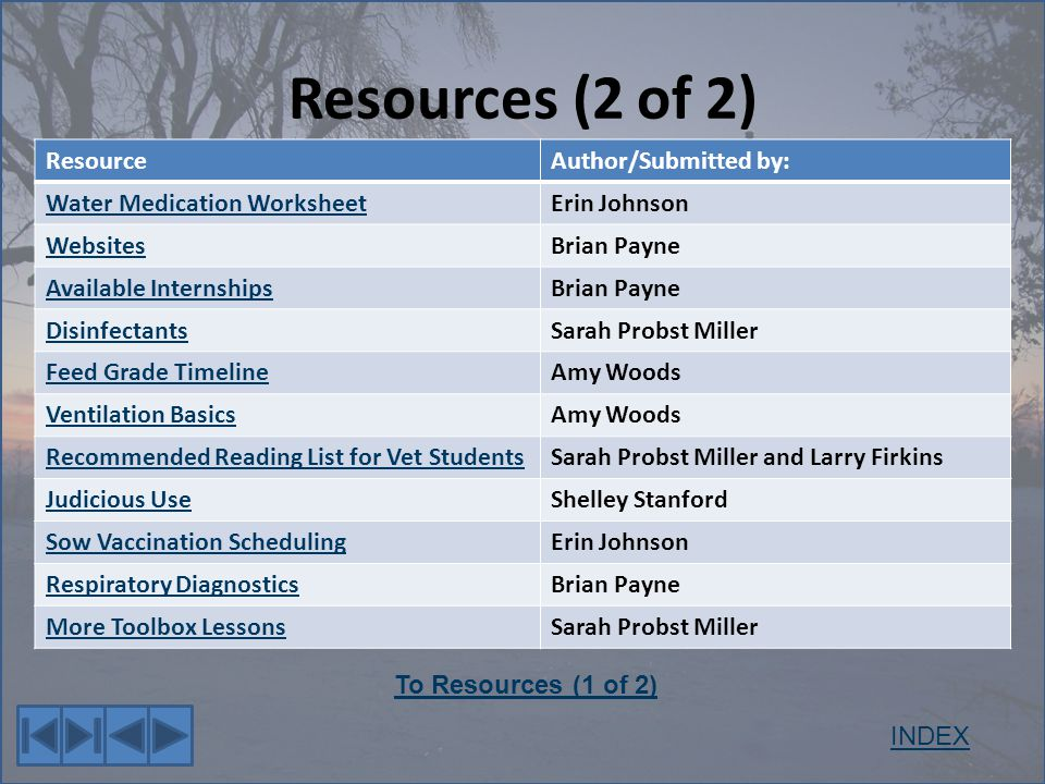Resources (2 of 2) ResourceAuthor/Submitted by: Water Medication WorksheetErin Johnson WebsitesBrian Payne Available InternshipsBrian Payne DisinfectantsSarah Probst Miller Feed Grade TimelineAmy Woods Ventilation BasicsAmy Woods Recommended Reading List for Vet StudentsSarah Probst Miller and Larry Firkins Judicious UseShelley Stanford Sow Vaccination SchedulingErin Johnson Respiratory DiagnosticsBrian Payne More Toolbox LessonsSarah Probst Miller INDEX To Resources (1 of 2)