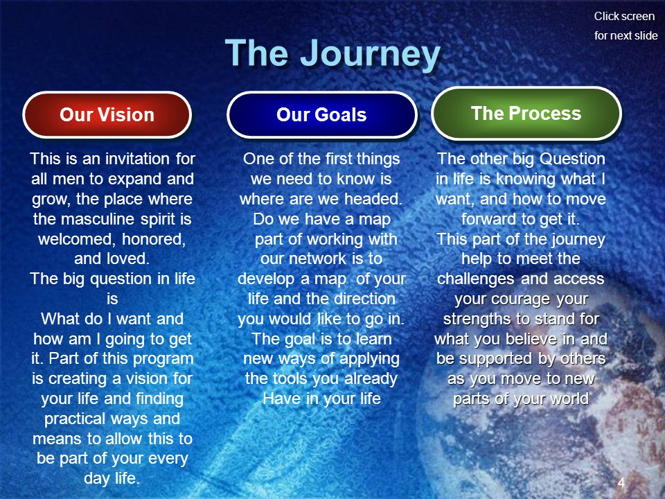 Click screen for next slide 4 The Journey Our Vision Our Goals The Process This is an invitation for all men to expand and grow, the place where the m