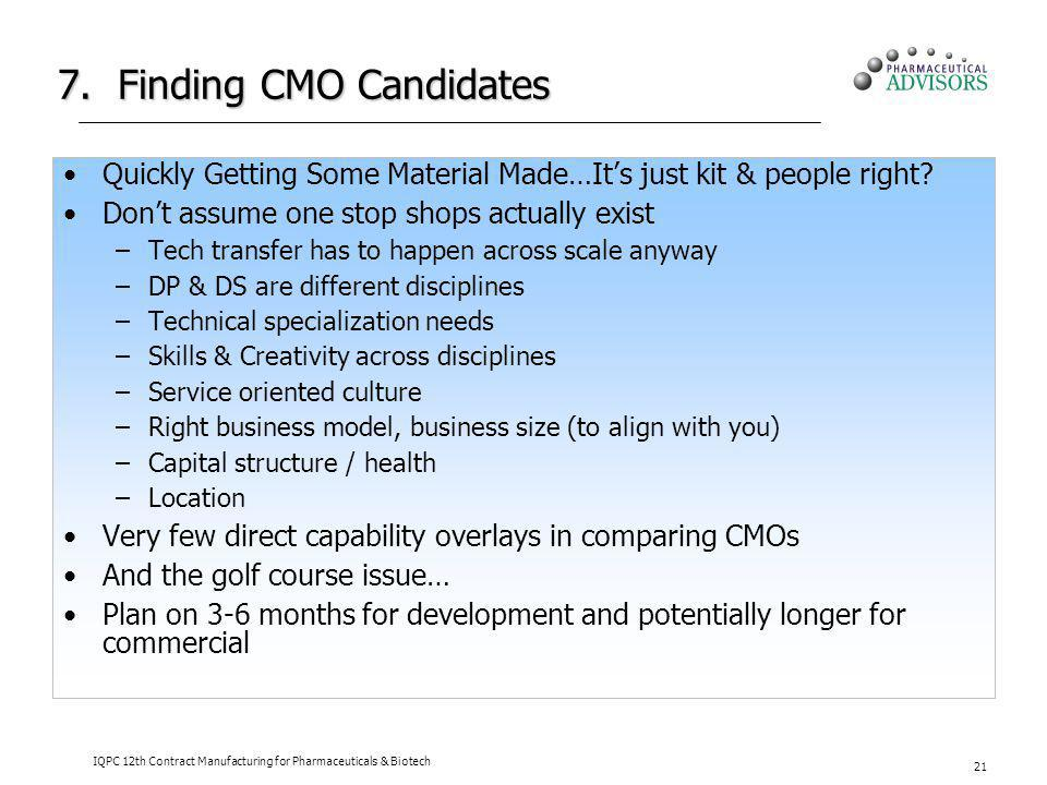 7. Finding CMO Candidates Quickly Getting Some Material Made…Its just kit & people right? Dont assume one stop shops actually exist –Tech transfer has