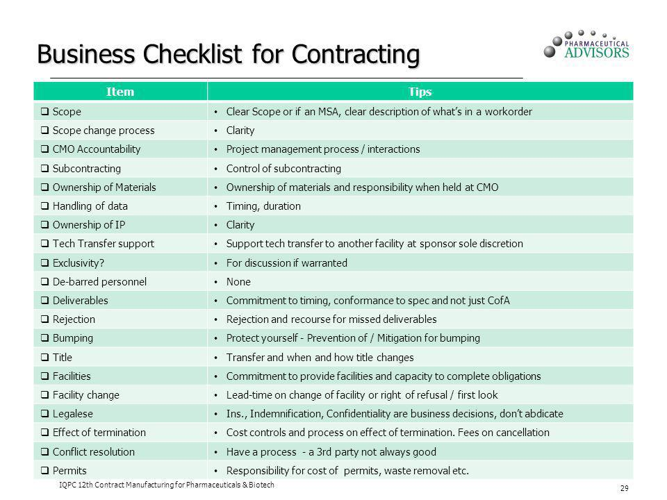 Business Checklist for Contracting ItemTips Scope Clear Scope or if an MSA, clear description of whats in a workorder Scope change process Clarity CMO