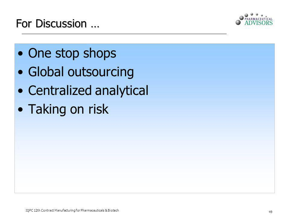 For Discussion … One stop shops Global outsourcing Centralized analytical Taking on risk IQPC 12th Contract Manufacturing for Pharmaceuticals & Biotec