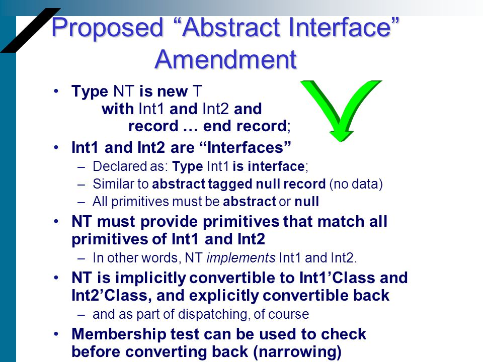 Proposed Abstract Interface Amendment Type NT is new T with Int1 and Int2 and record … end record; Int1 and Int2 are Interfaces –Declared as: Type Int
