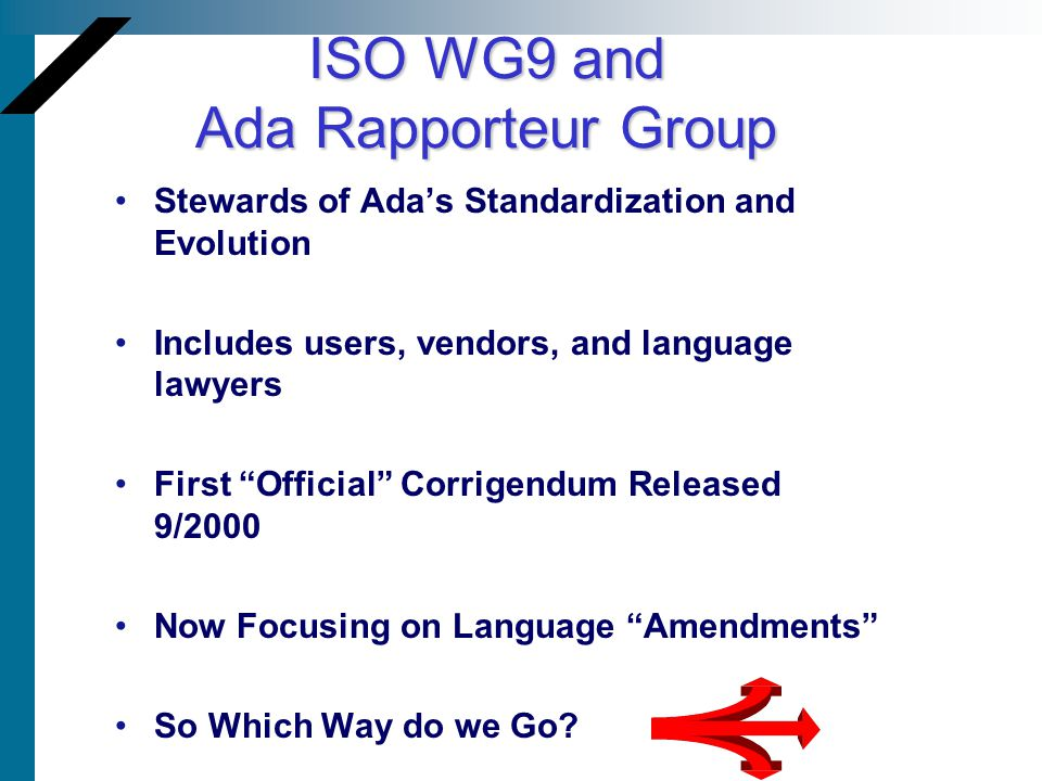 ISO WG9 and Ada Rapporteur Group Stewards of Adas Standardization and Evolution Includes users, vendors, and language lawyers First Official Corrigend