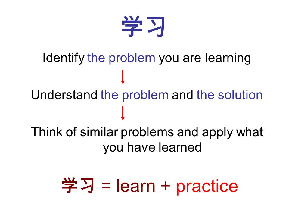 Identify the problem you are learning Understand the problem and the solution Think of similar problems and apply what you have learned = learn + prac