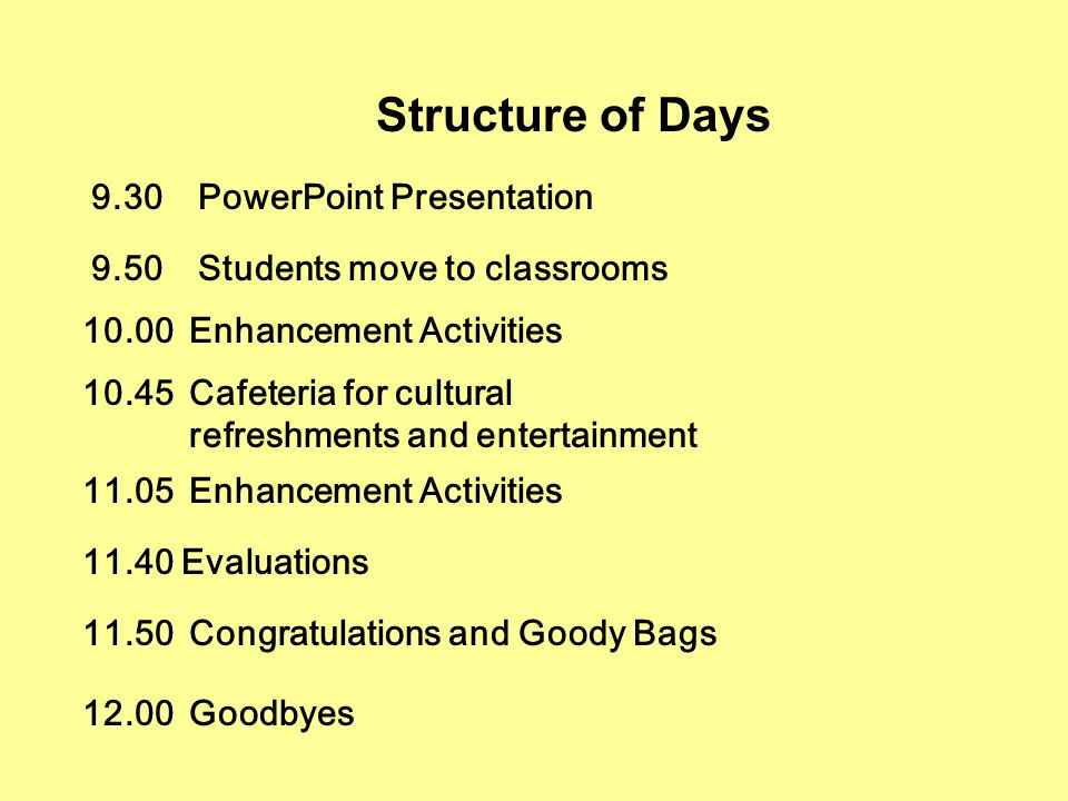 Structure of Days 9.30PowerPoint Presentation 9.50Students move to classrooms 10.00Enhancement Activities 10.45Cafeteria for cultural refreshments and entertainment 11.05Enhancement Activities 11.40 Evaluations 11.50Congratulations and Goody Bags 12.00Goodbyes