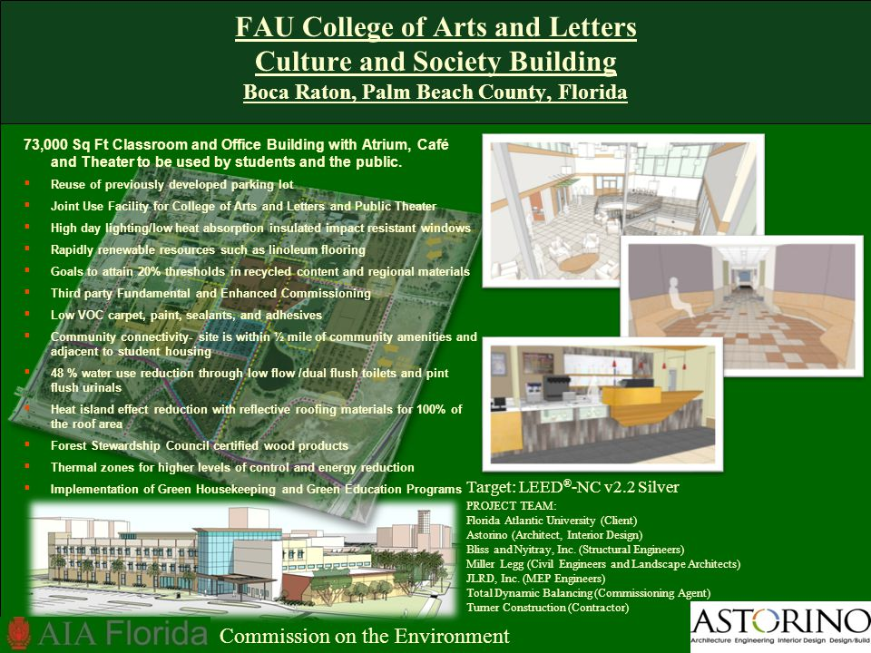 FAU College of Arts and Letters Culture and Society Building Boca Raton, Palm Beach County, Florida Target: LEED ® -NC v2.2 Silver PROJECT TEAM: Florida Atlantic University (Client) Astorino (Architect, Interior Design) Bliss and Nyitray, Inc.