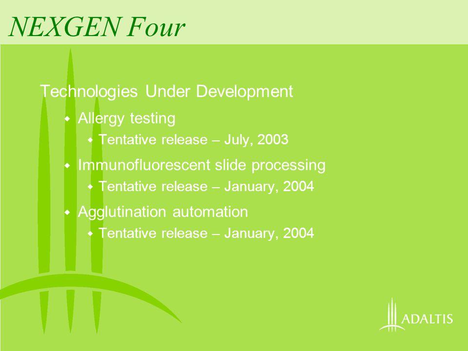NEXGEN Four Technologies Under Development Allergy testing Tentative release – July, 2003 Immunofluorescent slide processing Tentative release – Janua