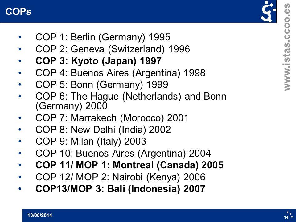 www.istas.ccoo.es 14 13/06/2014 COPs COP 1: Berlin (Germany) 1995 COP 2: Geneva (Switzerland) 1996 COP 3: Kyoto (Japan) 1997 COP 4: Buenos Aires (Arge