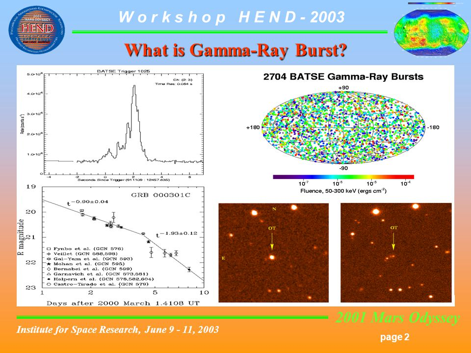 2001 Mars Odyssey page 2 W o r k s h o p H E N D Institute for Space Research, June , 2003 What is Gamma-Ray Burst