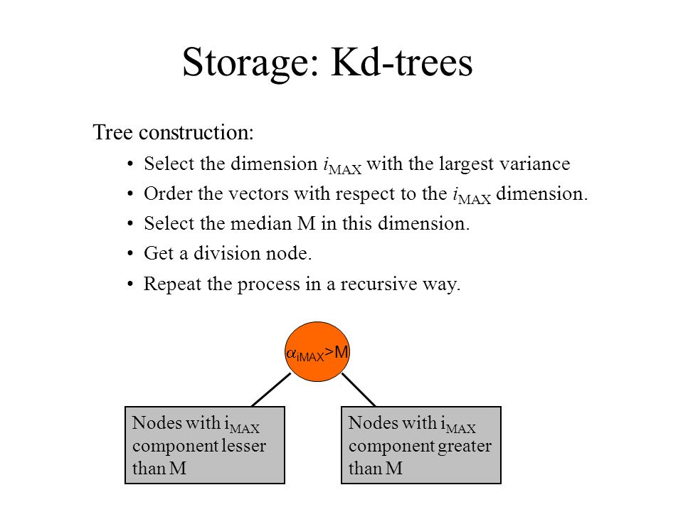 Tree construction: Select the dimension i MAX with the largest variance Order the vectors with respect to the i MAX dimension.