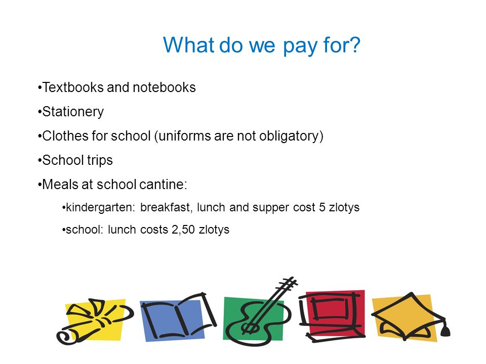 What do we pay for? Textbooks and notebooks Stationery Clothes for school (uniforms are not obligatory) School trips Meals at school cantine: kinderga