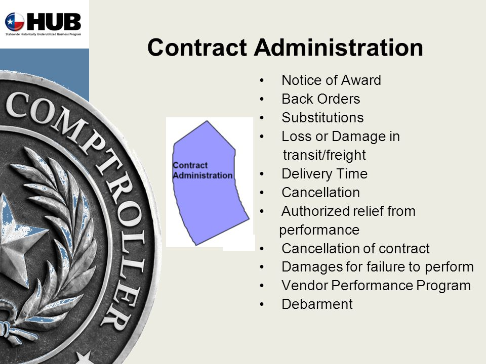 Contract Administration Notice of Award Back Orders Substitutions Loss or Damage in transit/freight Delivery Time Cancellation Authorized relief from performance Cancellation of contract Damages for failure to perform Vendor Performance Program Debarment