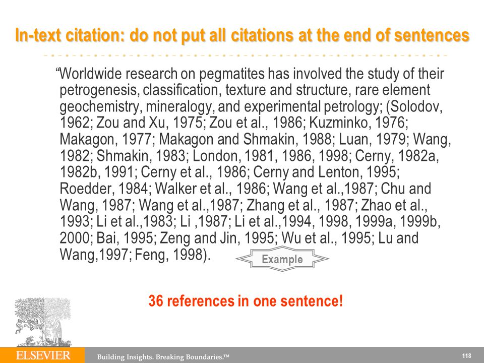 118 In-text citation: do not put all citations at the end of sentences Worldwide research on pegmatites has involved the study of their petrogenesis,