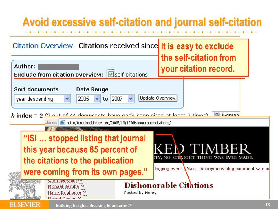 122 Avoid excessive self-citation and journal self-citation It is easy to exclude the self-citation from your citation record.